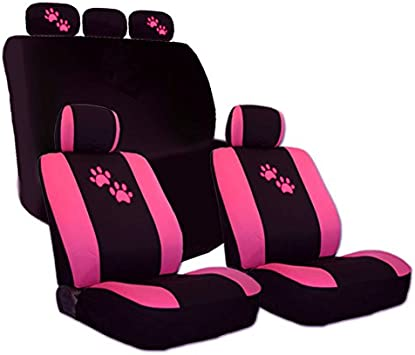 New Front /& Rear Black /& Pink Polyester Seat Covers Pink Paws Set For Honda