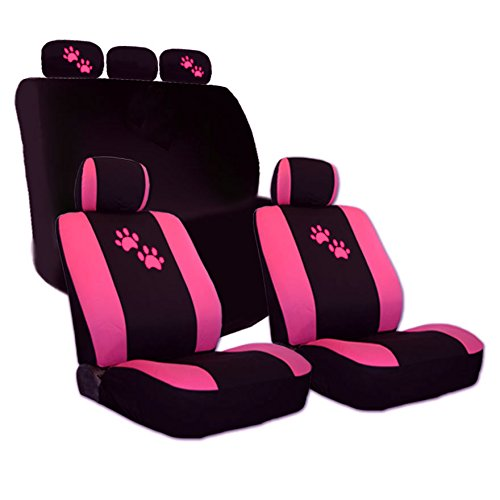Yupbizauto 2 Tone Black and Pink with Pink Paws Logo Front and Rear Car Seat Covers Support 50/50, 60/40 Rear Split Seat