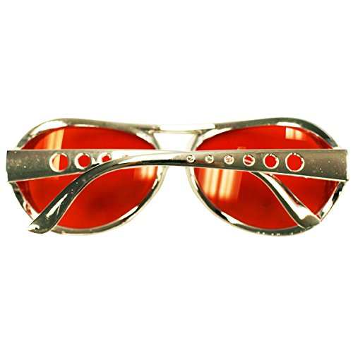 Party Hats Elvis Glasses By Sunglasses Shades Costume Funny Red Aviator 70's 6RU8Fznx
