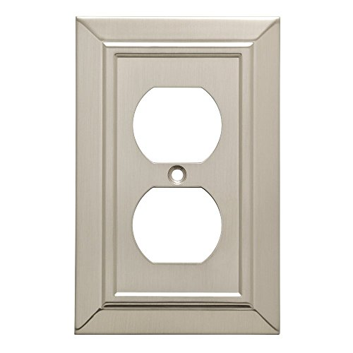 Cover Brass (Franklin Brass W35218-SN-C Classic Architecture Single Duplex Outlet Wall Plate / Switch Plate / Cover, Satin Nickel)