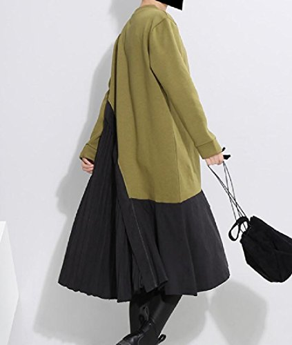 Unbalanced Women Dress Color Green Stylish Party Spell Pleated Thick Loose Comfy w6EqR1E