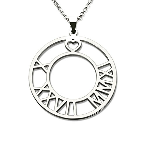 Personalized Circle Roman Numeral Necklace Custom Date Pendant with Heart White Gold Plated 925 Sterling Silver (Silver) (Initial 18k White Gold Pendant)