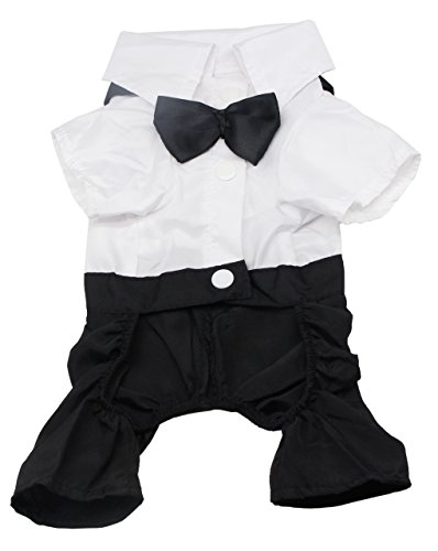 QiCheng&LYS Dog Clothes Pet Stylish Suit Bow Tie Costume,Wedding Shirt Formal Tuxedo with Black Tie Suit (S)