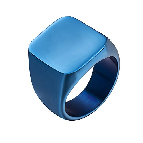 JAJAFOOK Mens 316L Stainless Steel Smooth Blue Plated Square Signet Rings Jewelry Set Size 7-15