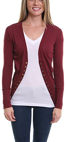 Pier 17 Womens Sweaters Long Sleeve, Button Down Cardigan - Casual Slim Made From Soft, Comfortable - Durable and Stretchy Fabric Matches Your Body Type (Large, Burgundy) (Match Cardigan Sweater)