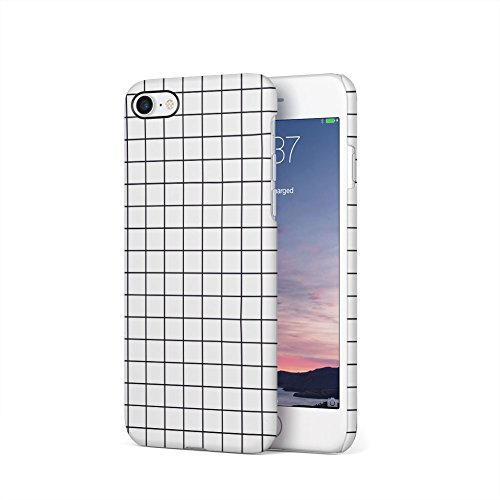 (White Checkered Pattern Apple iPhone 7 Plastic Phone Protective Case Cover)