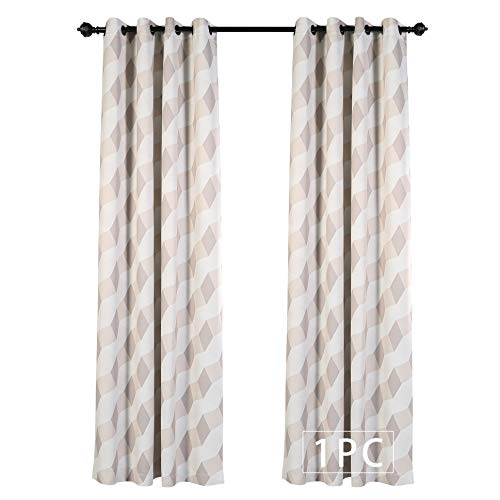MYSKY HOME 3D Geometry Fashion Design Print Thermal Insulated Blackout Curtain with Grommet Top for Living Room, 52 by 84 inch, Beige - 1 Panel