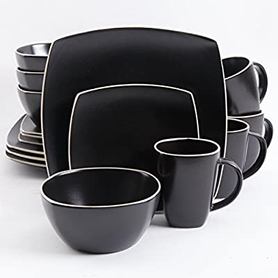 Gibson Elite Dinnerware Set, Soho Lounge Matte Square, Black - Gibson Elite SoHo Lounge 16-piece dinnerware set including: 4 dinner plates, 4 dessert plates, 4 soup/salad bowls, 4 mugs (12oz) Beautifully designed stoneware material painted with eloquent tutone reactive glaze Conveniently stack dishes in cabinets and instantly save precious space - kitchen-tabletop, kitchen-dining-room, dinnerware-sets - 41XQO83n6zL. SS400  -