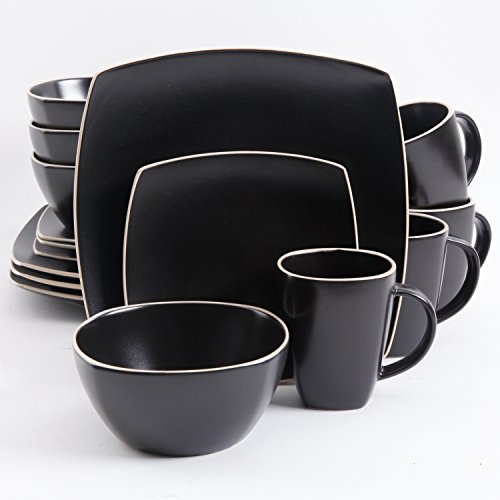 Gibson 102261.16RM Soho Lounge Square 16-Piece Dinnerware Set Service of 4, Stoneware, Black Matte (Set 16 Piece Dinnerware Square)