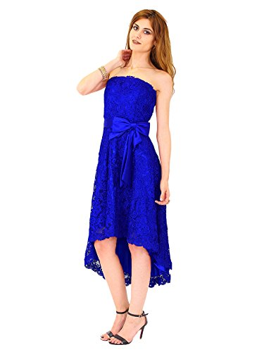 1381 vorne Kleid Abendkleid Kleid amp;Christine kurz lang Spitzenkleid Juju Vokuhila Cocktail Hinten Royalblau Cappuccino 42 qYOEwx