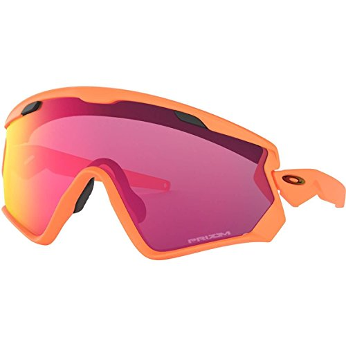 Oakley Men's OO9418 Wind Jacket 2.0 Shield Sunglasses, Matte Neon Orange/Prizm Road, 45 mm (Sunglasses Orange Oakley)