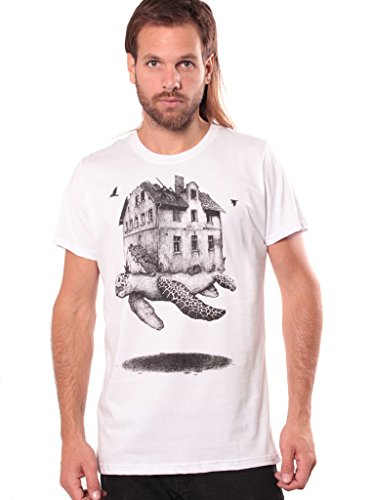 Tribal Tattoo T-shirt (Travelling Home Crew Neck T-Shirt for Men - Graphic Print Turtle Top - Original Illustration Urban Wear - White -)