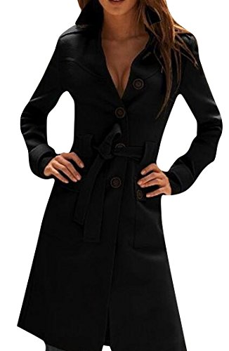 Honey GD Women Winter Sexy Belted Long Jacket Trenchcoat Overcoat Black S (Sexy Fur Coat)