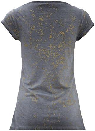 Blue Monkey damska koszulka z okrągłym dekoltem z cekinami motyw poduszka okrągły dekolt krÓtki rękaw koszulka Slim Fit nadruk poduszka, kolor: szary , rozmiar: m: Odzież