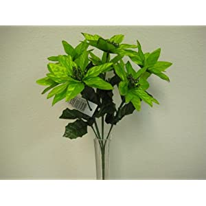 "4 Bushes Lime Christmas Glitters Poinsettia 7 Artificial Silk Flowers 12"" Bouquet 209LIM 103"