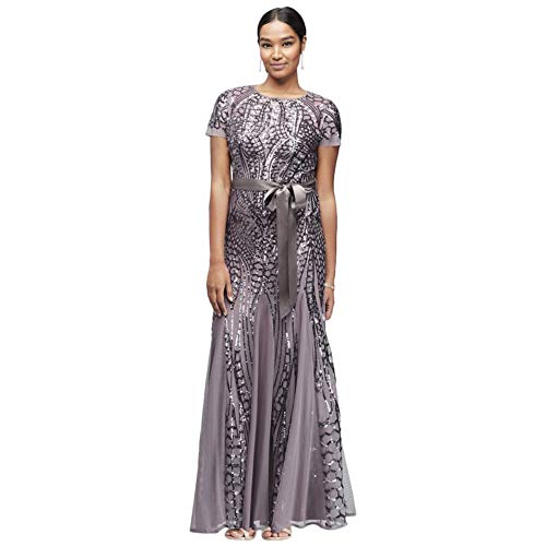 Short-Sleeve Sequined Illusion A-Line Mother of Bride/Groom Gown Style 1875, Mocha, 16