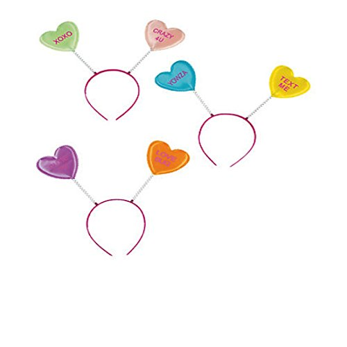 Valentine Conversation Hearts Head Boppers Party Hats 12 Pack