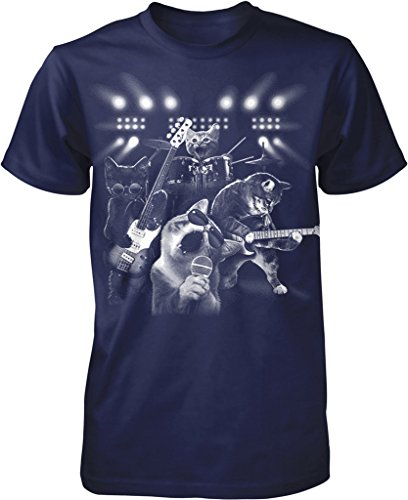 Cat Rock Band, Cats Playing Guitar and Drums Men's T-shirt, NOFO Clothing Co. XL (Playing Rock)