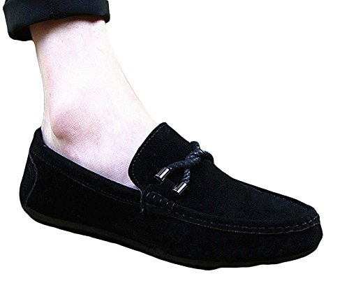 Ma Loafers Men's Driving on Slip Boat King Suede Casual Shoes Black yIgdF1Wc7Z