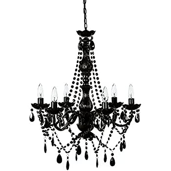 All jet black chandelier lighting crystal 17wx13h 4lts amazon the original gypsy color 6 light large black chandelier h27 w23 black metal mozeypictures Image collections