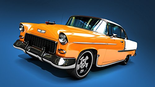 - 1955_Chevy_BelAir Orange Krush Mouse Pads mousepads Classic Vintage Old Cars Hot Rods Speed Computer Dessktop Supplies