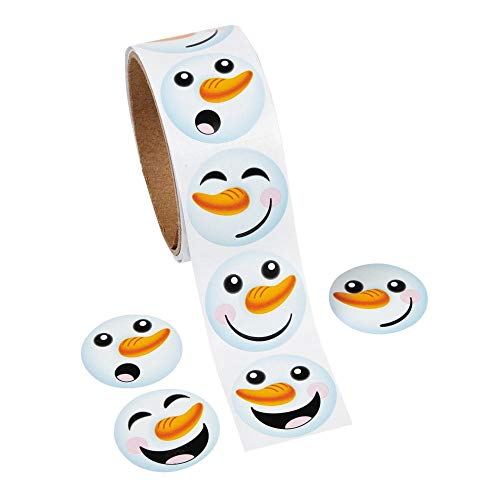 Fun Express 1 Roll ~ Happy Snowman Face Stickers ~ Approx. 1.5