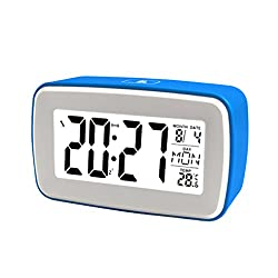 Touch Digital Recording Alarm Clock by Glovion Smart Luminous LCD Large Screen Bedside Alarm Snooze Clock Travel Alarm Clock-Blue