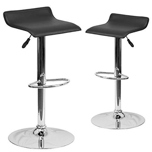 Flash Furniture 2-Pack Contemporary Vinyl Adjustable Height Bar Stool with Chrome Base, 34-Inch, Black