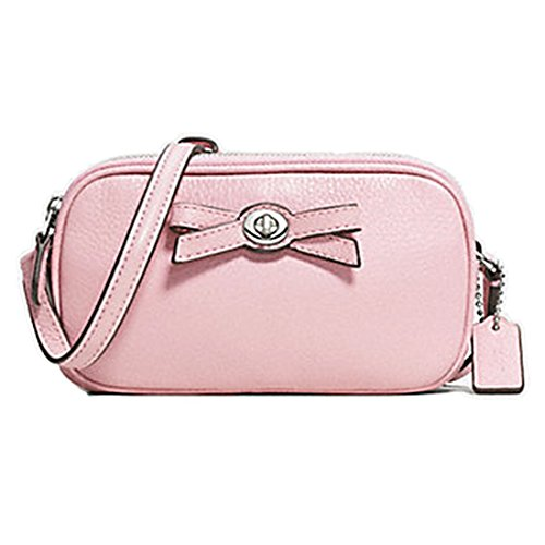 CoachTurnlock Bow Crossbody Pouch (Silver/Petal) Coach Makeup Pouch