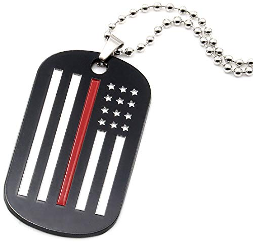 Inkstone Thin Red Line American Flag Dog Tag Necklace for Firefighters Fire Department Family Members - Jewelry Accessories Apparel Gifts for Fire Fighters Men Women