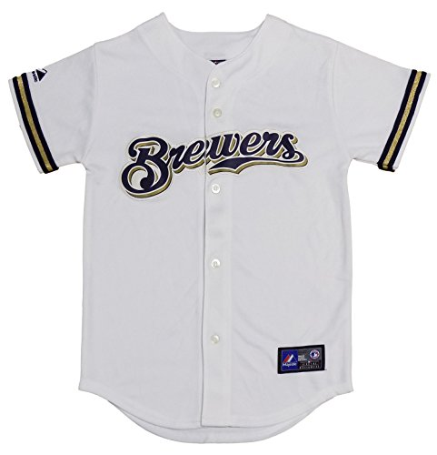 OuterStuff Milwaukee Brewers Blank White Youth Authentic Home Jersey (Medium 10/12)