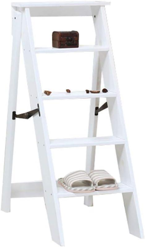 MultifuncióN Estante Almacenamiento Baldas Escaleras de tijera Taburete con peldaños de madera maciza Escalera Silla Asiento Banco portátil ligero y plegable for el hogar, 5 peldaños, servicio pesado: Amazon.es: Hogar