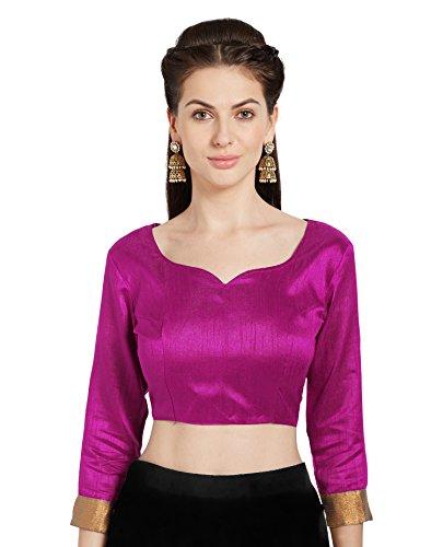 Women's Magenta Art Silk Readymade Saree Blouse Stylish Choli Mirchi Fashion Top ()