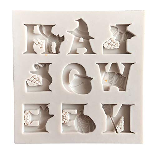 856store Big Promotion Halloween Letter Ghost Cat Pumpkin Silicone Fondant Mold Cake Sugarcraft Decor Off-white -