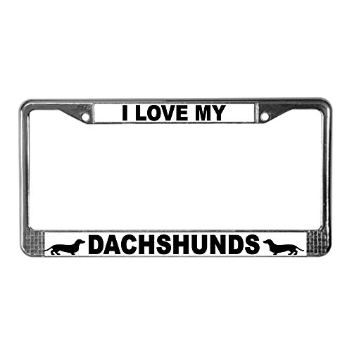 CafePress Love My Dachshunds Chrome License Plate Frame, License Tag Holder
