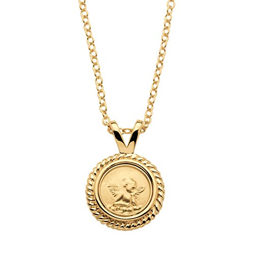 Palm Beach Jewelry 14k Yellow Gold-Plated Guardian Angel Medallion Charm Necklace 18