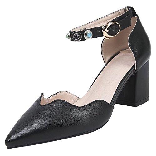 AIYOUMEI Blockabsatz Leder Pumps mit Knöchelriemchen High Heels mit Riemchen Damen Schwarz