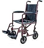 Super Lightweight Burgundy Aluminum Transport Chair Wheelchair 19 lb