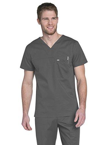 Landau Men's Durable Medical Shirt 1-Pocket V-Neck Stretch Scrub Top, Steel Grey, X-Large