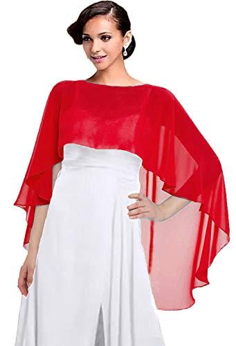Women Chiffon Cape Bridal Soft Chiffon Scarve Shawls Wraps Beach Cover Up Wedding Bridal Capelet Evening Shawls (Red)