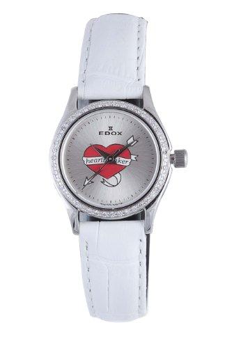 Edox Women's 31158 317D A Les Genevez Silver Dial White Leather Diamond