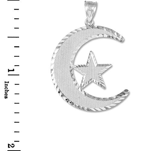 Petits Merveilles D'amour - 14 ct 585/1000 islamique lunaire Pendentif Or Blanc