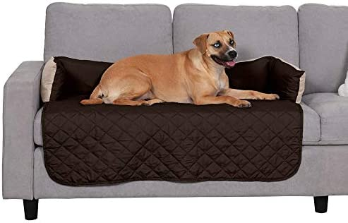 Furhaven Pet Furniture Cover – Sofa Buddy Two-Tone Reversible Water-Resistant Living Room Furniture Cover Protector Pet Bed for Dogs and Cats, Espresso and Clay, Large