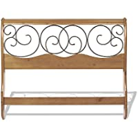 Dunhill Wood Headboard with Sleigh Style Design and Autumn Brown Metal Swirling Scrolls, Honey Oak Finish, King