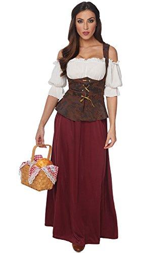 Costume Culture Women's Peasant Lady Costume, Burgundy/Brown, -