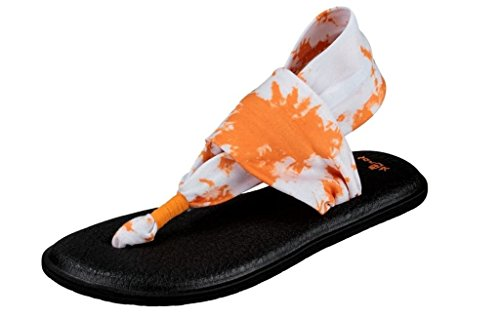 Sanuk Frauen Yoga Sling 2 Flip Flop Orange Tye Dye
