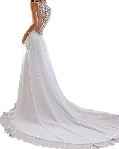 de de con Beach novia cuello vestido ANJURUISI en de cuentas Mujer's Blanco profundo gasa Sexy V Long wqZ1z1UOxA