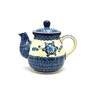 Polish Pottery Gooseneck Teapot – 20 oz. – Blue Poppy
