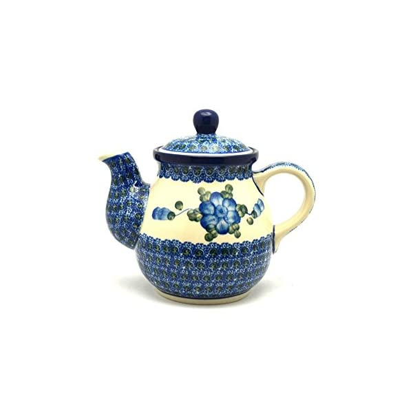 Polish Pottery Gooseneck Teapot – 20 oz. – Blue Poppy