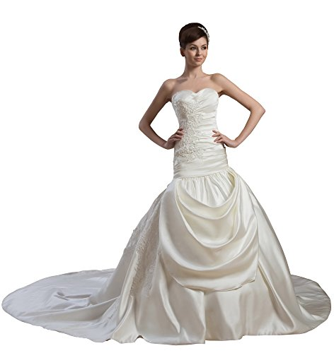 Vogue007 Womens Sweetheart Pongee Wedding Dress with Floral, ColorCards, 16 by Unknown